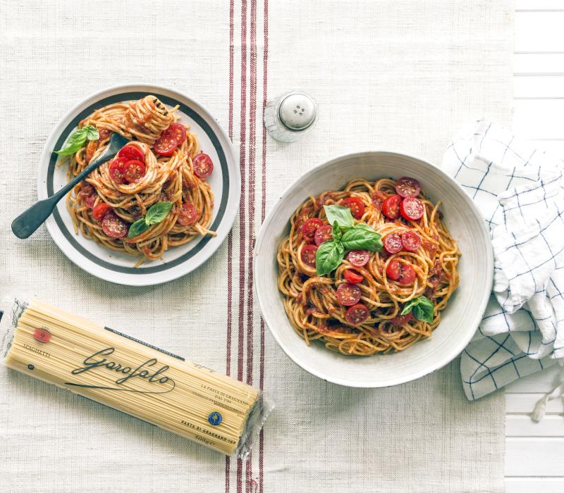 Pasta Garofalo - Spaghetti met verse tomatensaus en basilicum