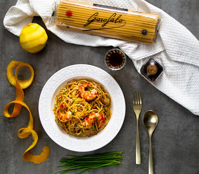 Pasta Garofalo - Spaghetti con gambas y vermú al aroma de naranja