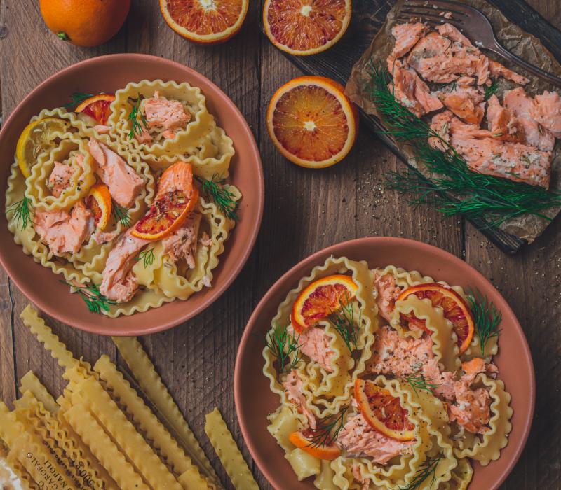 Pasta Garofalo - Mafalde au saumon, agrumes, aneth et graines de fenouil