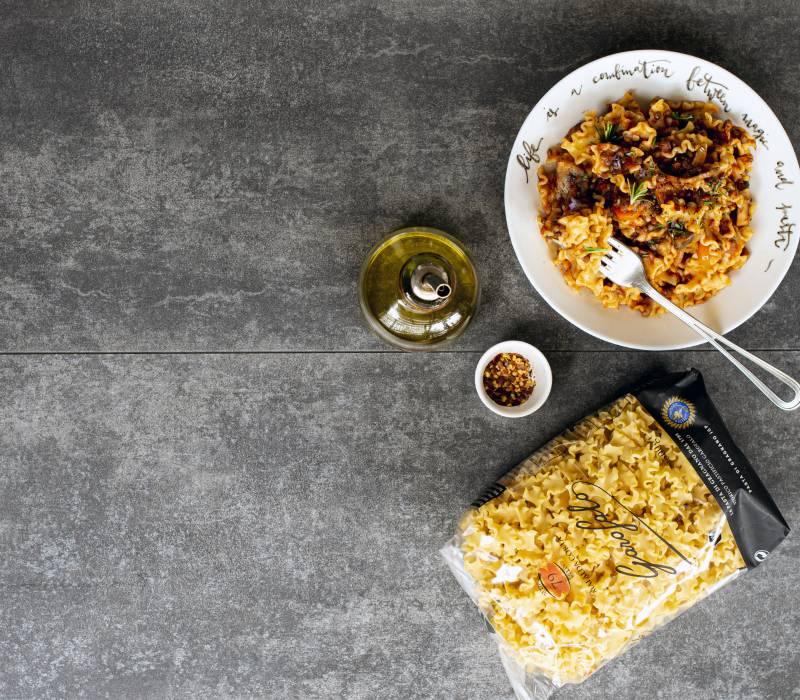 Pasta Garofalo - Mafalda Corta with Vegan mushroom lentil ragout